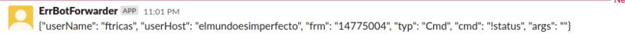 Publishing commands on Slack