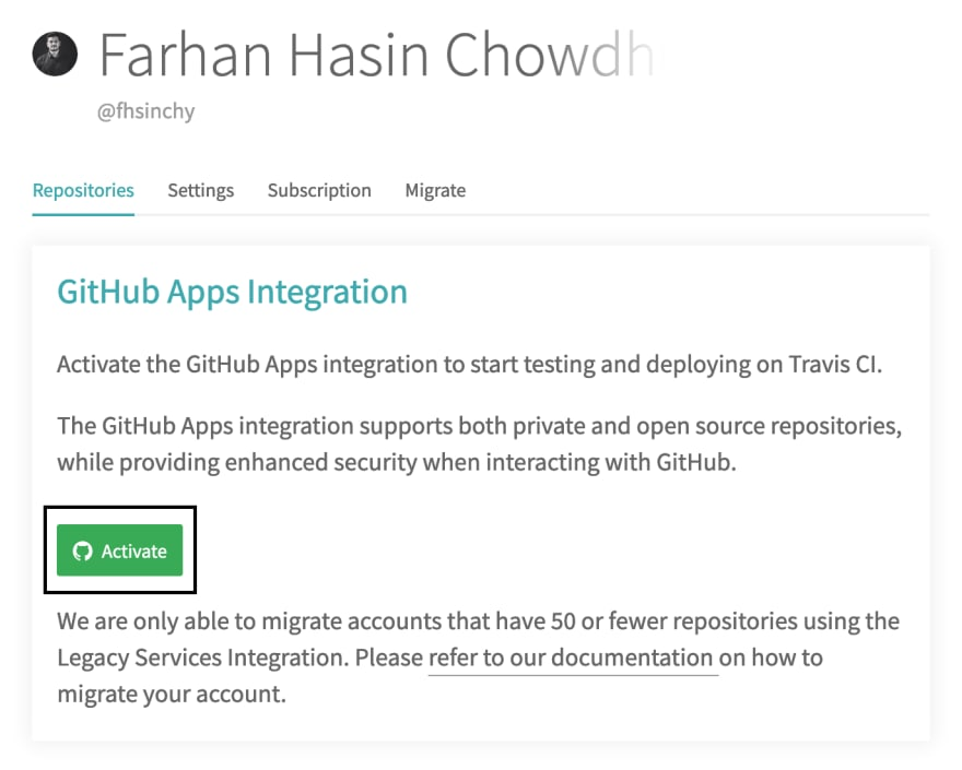 Activate Apps Integration