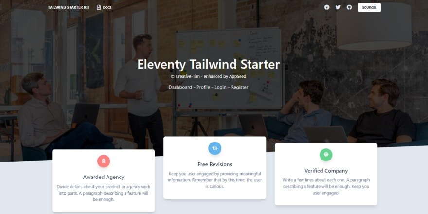 Tailwind CSS Starter - The landing page.