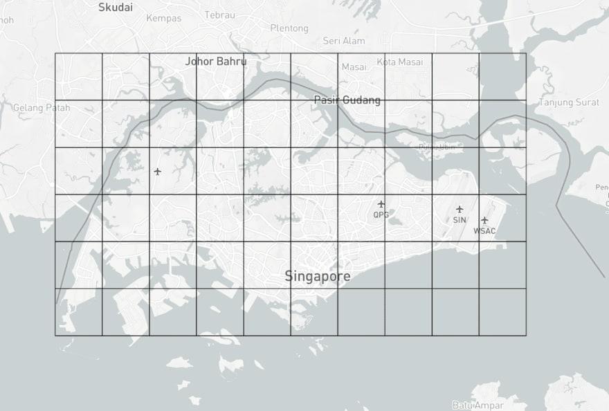 Square grids around Singapore boundary