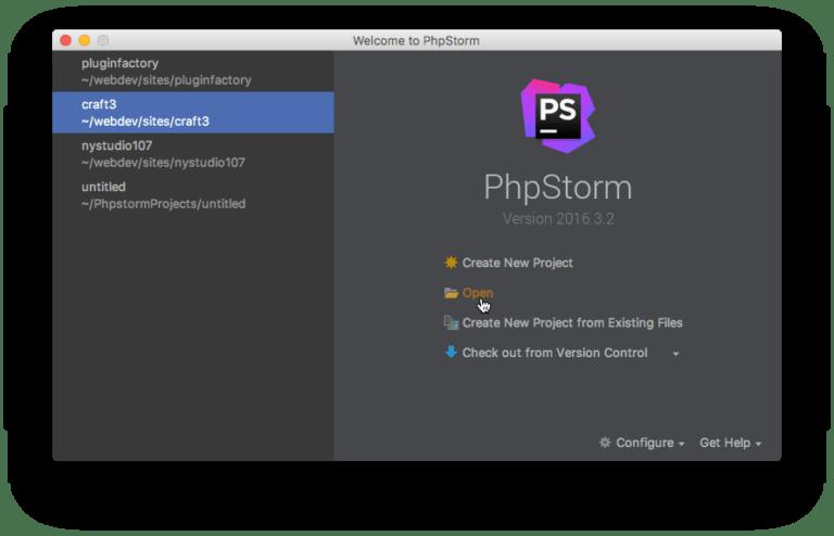 Phpstorm Open