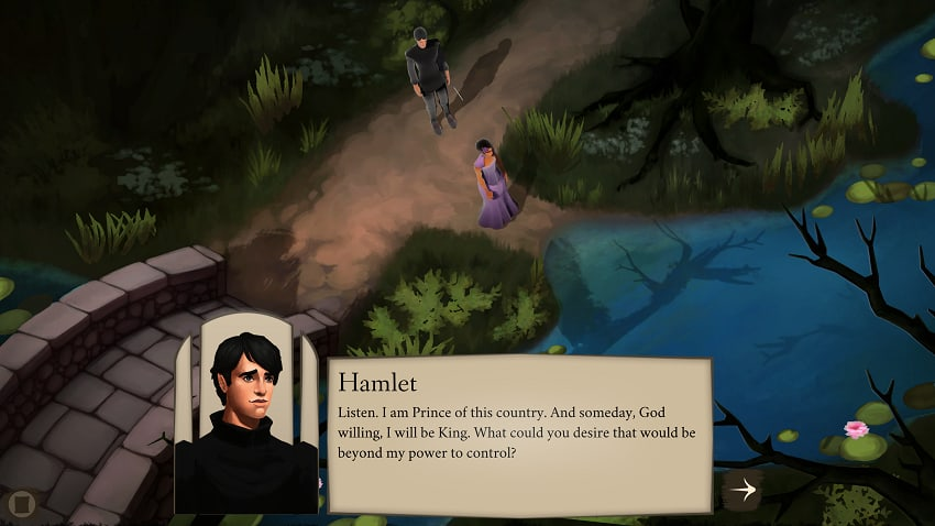 Elsinore screenshot showing Hamlet