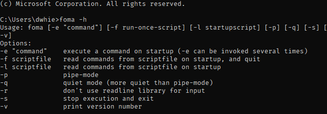 Help text returned by the foma command