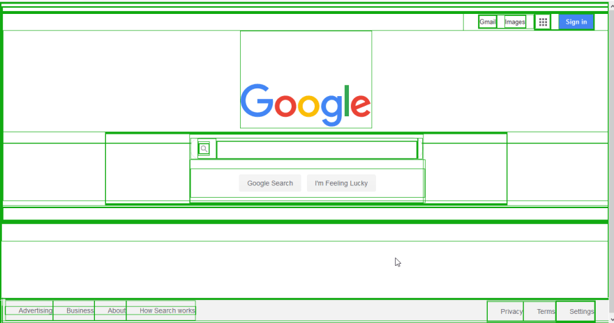 Home page of Google's search engine with elements highlighted