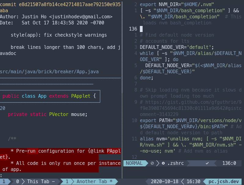 An example of using tmux with split-screen and tabs
