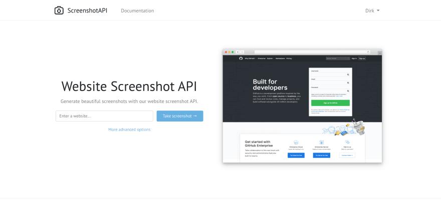 ScreenshotAPI.net Homepage