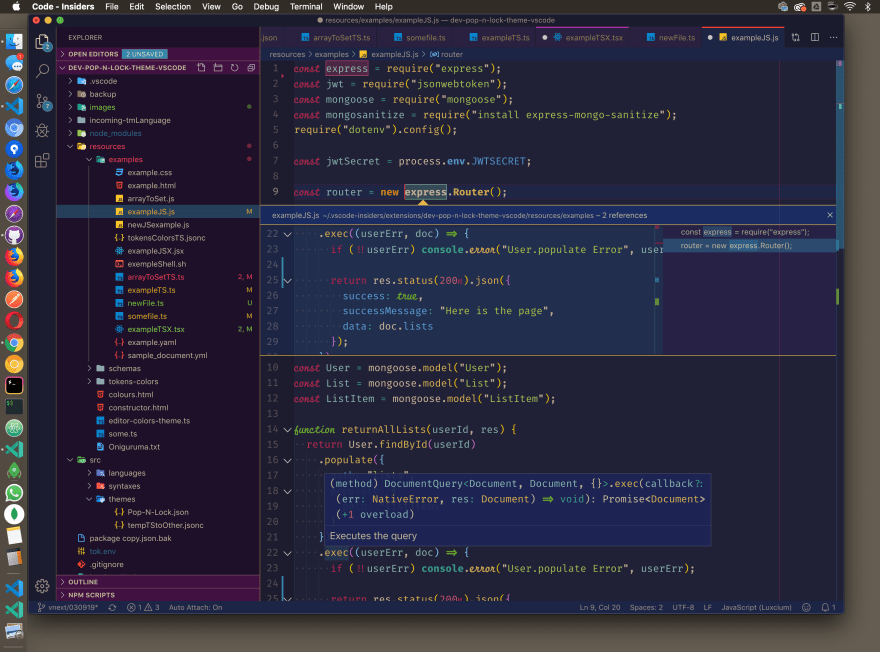 Preview of the IDE with Pop N' Lock Theme