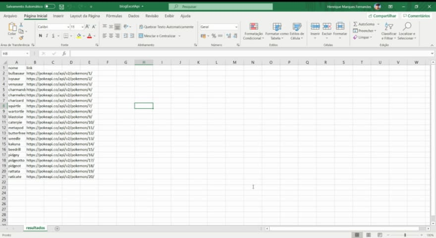 Excel API Rest
