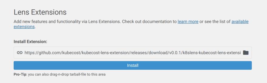 Install Kubecost Lens extension