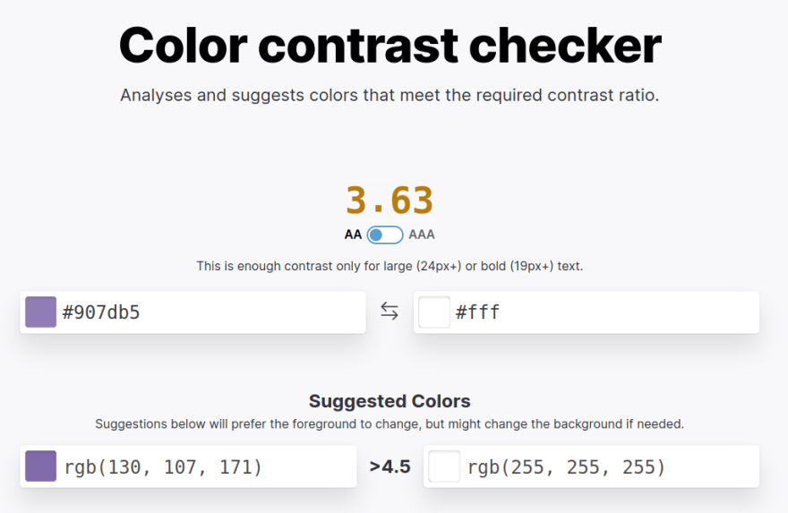 Color contrast checker screenshot