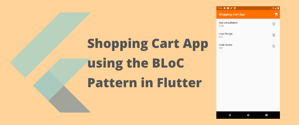Cover image for Shopping cart app using BLoC pattern in Flutter