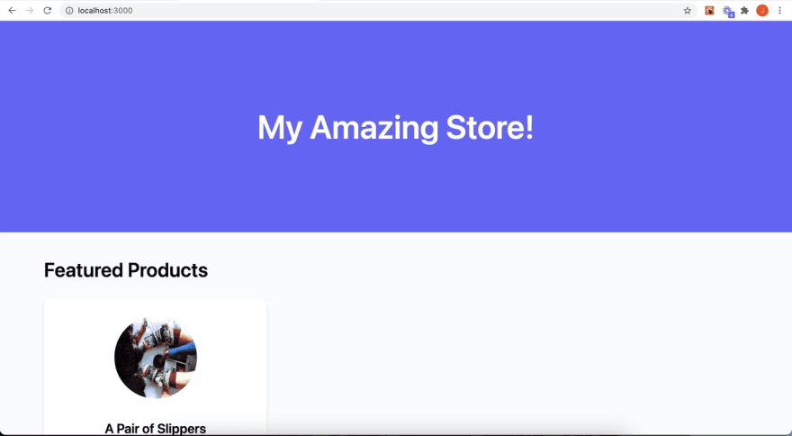 A screenshot of the Next.js store front