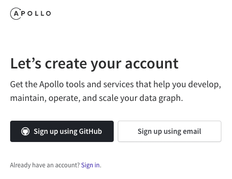 Apollo Graph Manager Signup