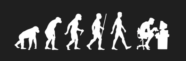 """An image of the evolution of humans starting from primitive man to man hunched over a computer"""