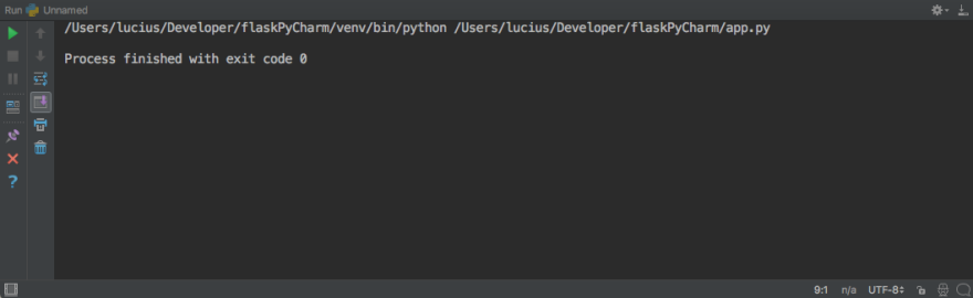 PyCharm Console with nothing in it
