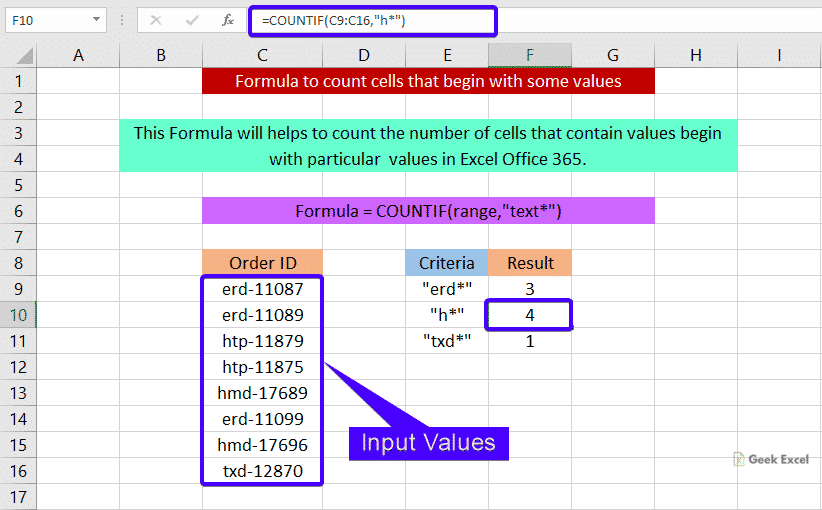 Formulas to count cells that begin with some values