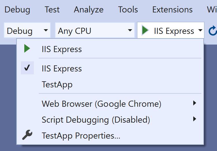 The launchsettings.json drives the Visual Studio Debug view