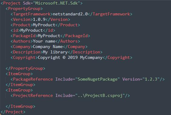 CSProj Snippet of dotnet core project