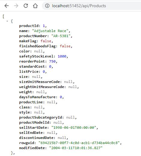 Web API returns JSON for DataTables