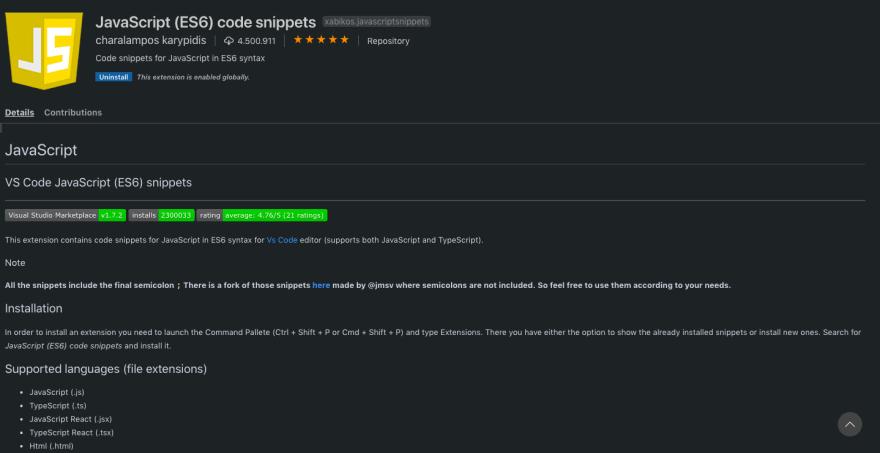 JavaScript Code Snippets Screenshot