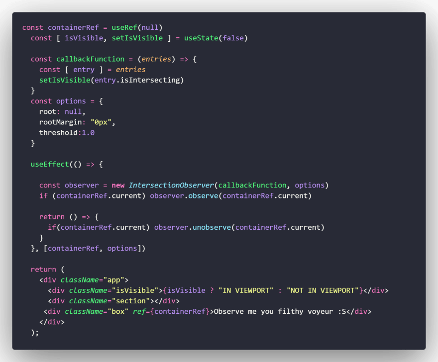 Basic example of use in react