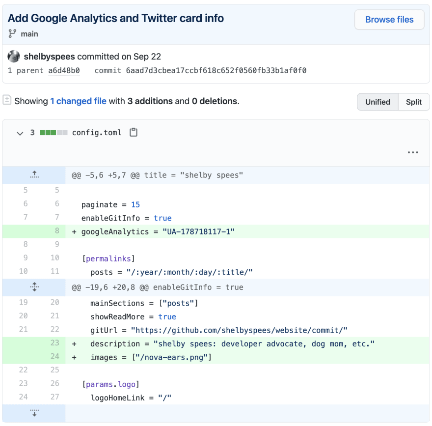 screenshot of commit on GitHub titled 'Add Google Analytics and Twitter card info'