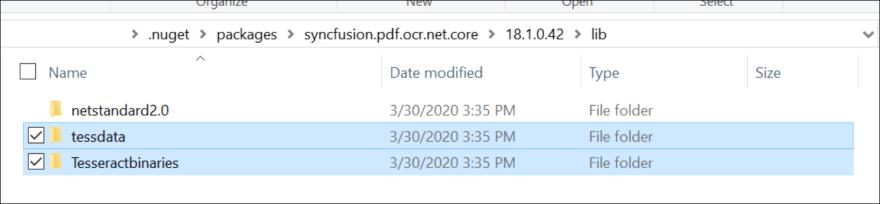 Copy tessdata and tesseractbinaries folder from NuGet folder