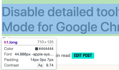 Disable detailed tooltips in Inspect Mode for Google Chrome