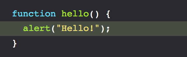 Javascript syntax highlighting