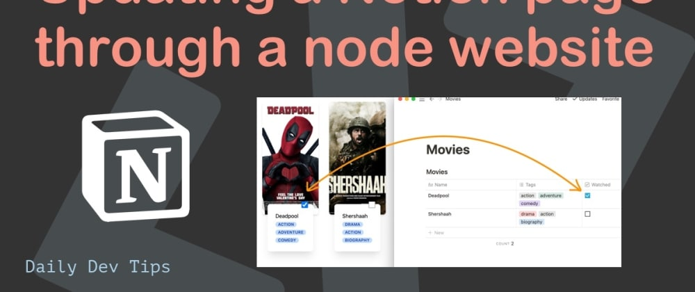 Cover image for Updating a Notion page through a node website