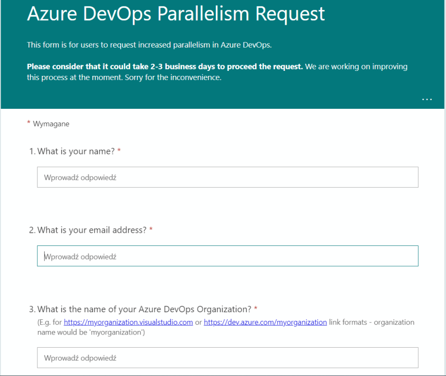 Parallelism Request Form