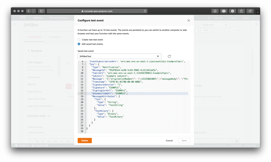 Configure a test event