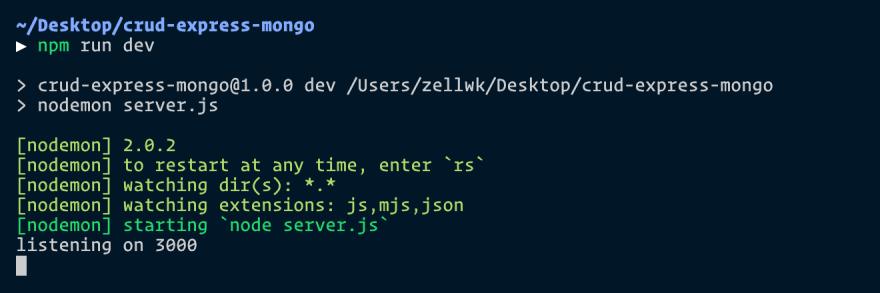 Uses npm run dev to run nodemon server.js