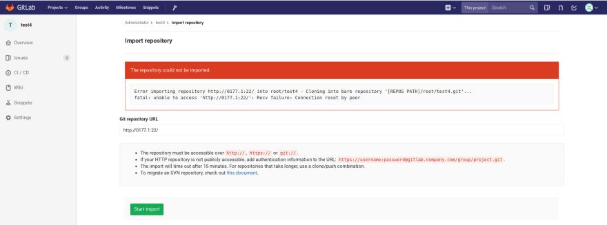 Error message - Open port