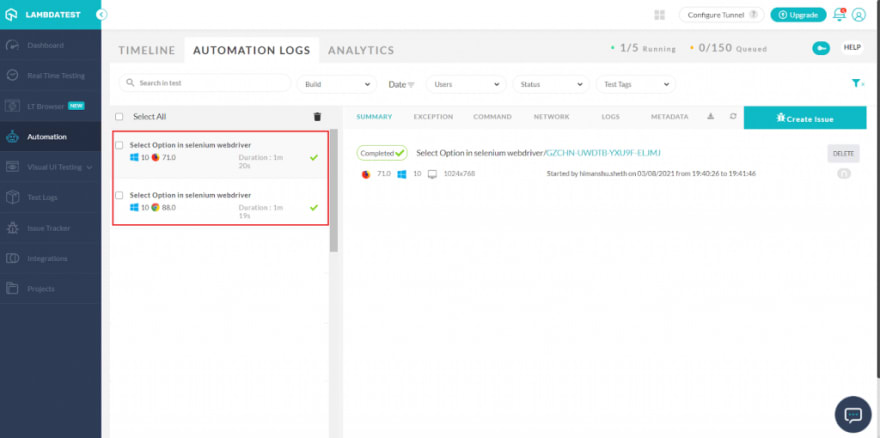 LambdaTest Automation testing dashboard