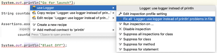 Replace All println for Logger