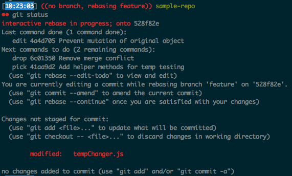 Git status after changing file