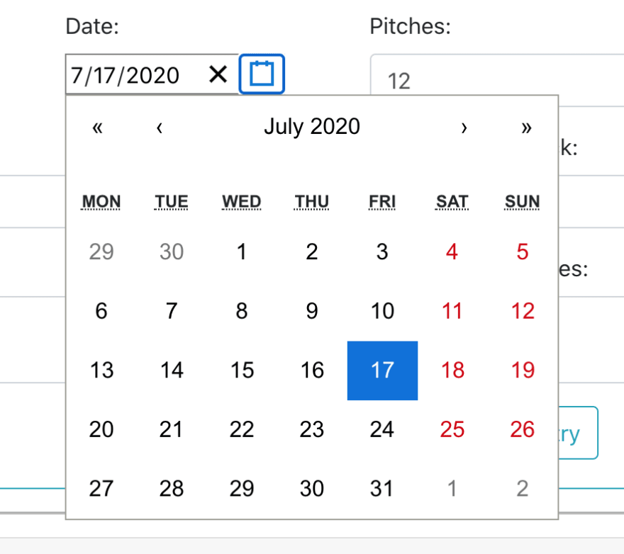 dropdown calendar view
