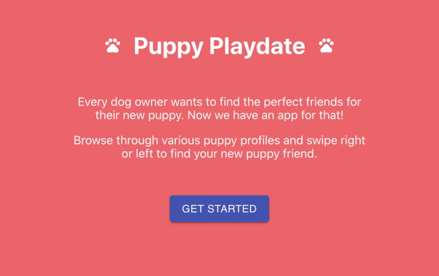 Welcome screen in the puppy playdateapp