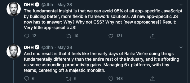 DHH tweet on not writing app-specific javascript