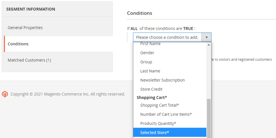 Our new condition showing in the list