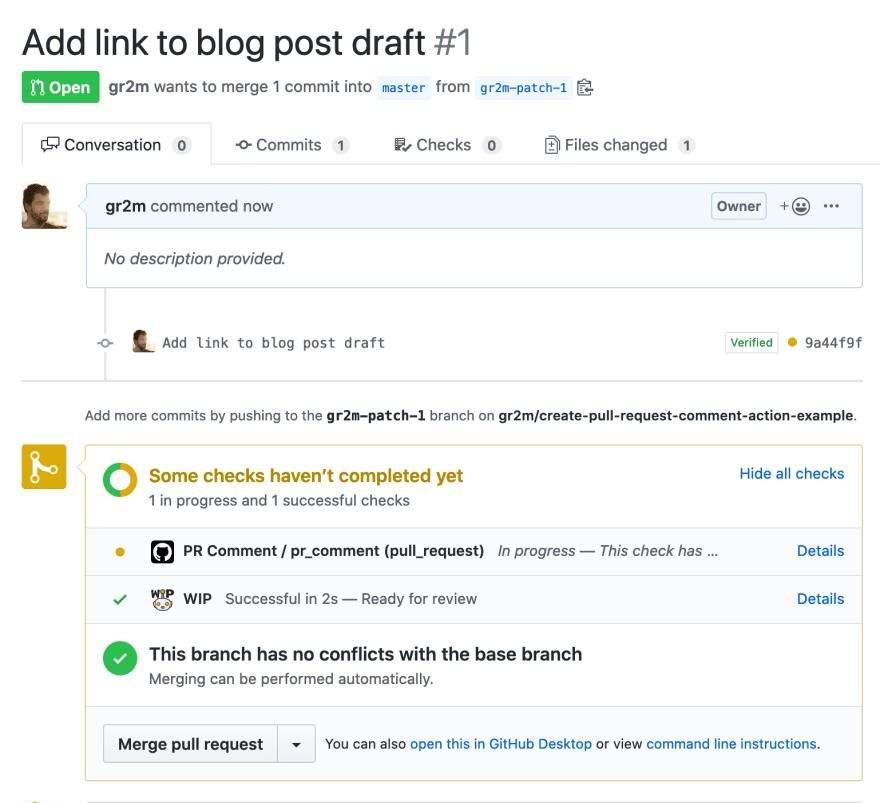 Screenshot of new pull request