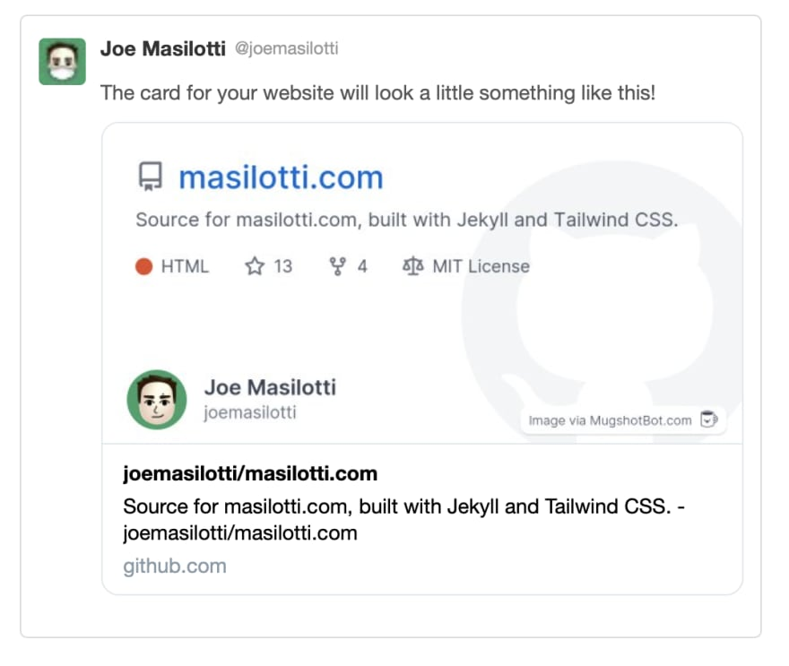 Improved Twitter preview of a GitHub repo