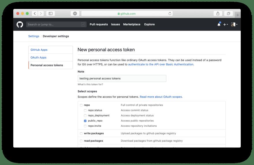 Create a personal access token screenshot