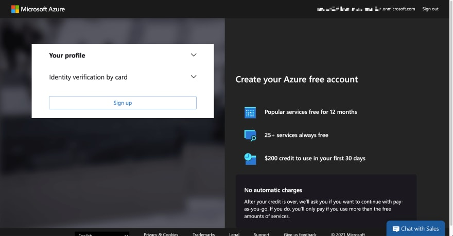 Azure Subscription Trial Sign-up Page