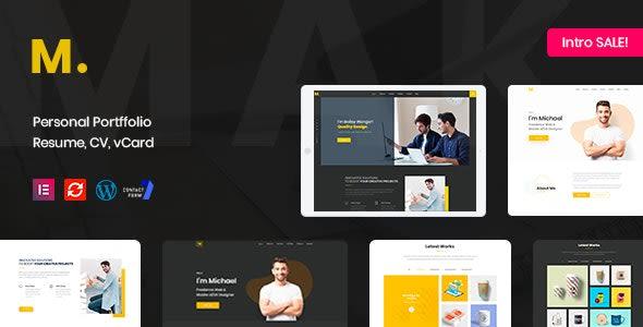 Mak-portfolio and resume WordPress dark theme