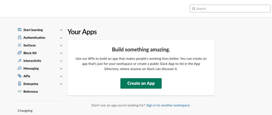 Slack Create App