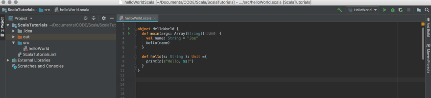 hello world in IntelliJ