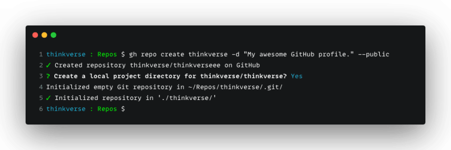 GitHub command-line tool creating repo after answering yes on prompt