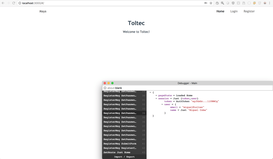 Toltec Home page after user creation and automatic loggin in